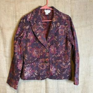 Coldwater Creek Womens Blazer SZ S Collared Floral